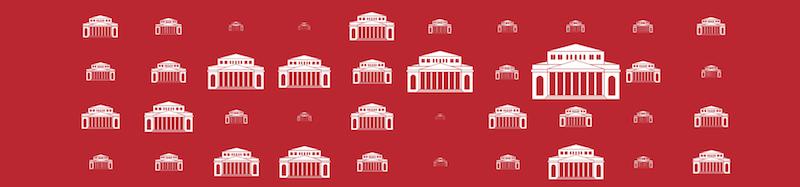 Piktogramm eines Theaters auf rotem Hintergrund