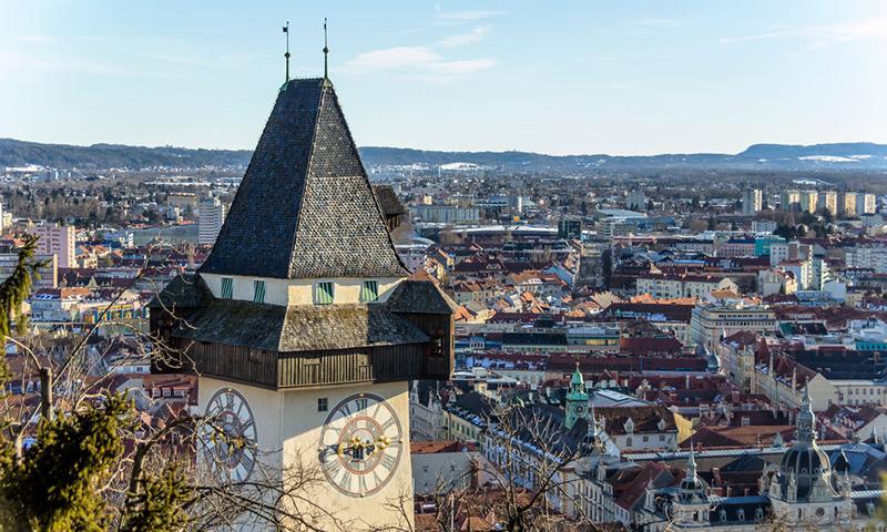 Der Uhrturm ist das Wahrzeichen der Stadt Graz. Landeshauptstadt der Steiermark in ÷sterreich