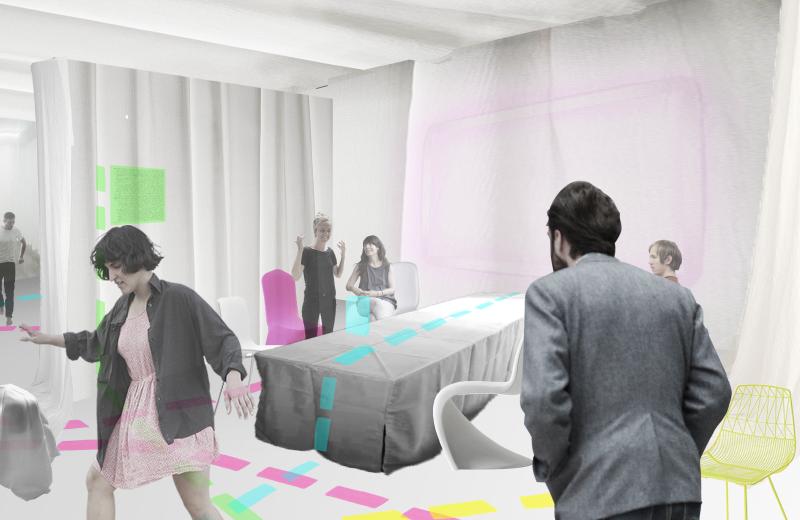 """In der begehbaren Ausstellung """"Unbounded"""" können die besucher aufgrund einer wählbaren Farbe eine der Arbeitslandschaften durchlaufen und dabei erraten, in welcher sie sich befinden. (Bild: TH Köln)"""