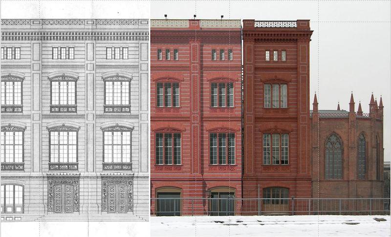 Zeichnungen der Fassadenstudien der Bauakademie