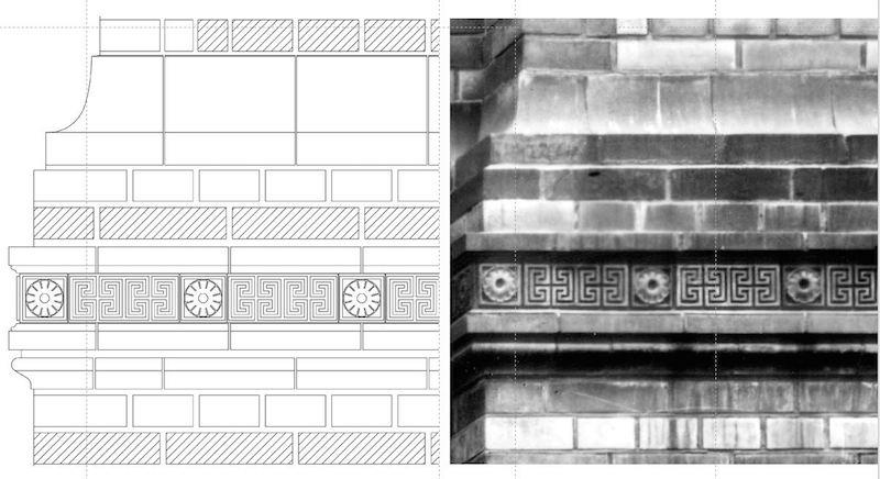 Rekonstruktionszeichnung der Fassade und Fotografie der originalen Fassade