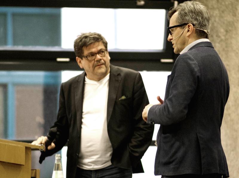 Prof. Dr. Jörg Gleiter zusammen mit Prof. Andreas Denk beim architectural tuesday