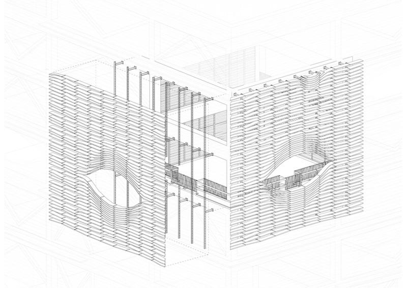 Médiathèque de Saint-Paul | Fassadenaufbau © Périphériques Architectes