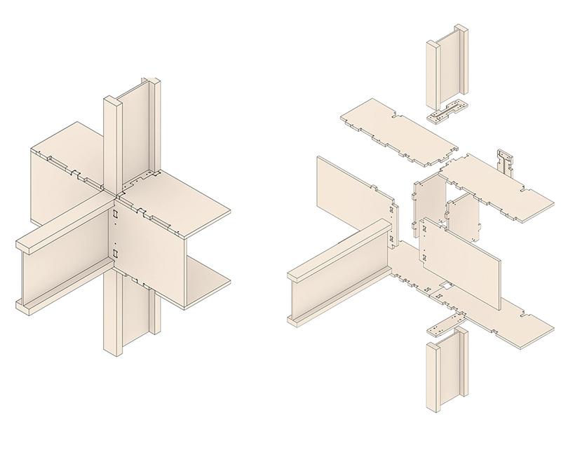 Die in der Masterarbeit entwickelten Knotenpunkten aus Holzplattenwerkstoffen verbinden die Doppel-T-Träger. (Bild: Atelier SLOW)
