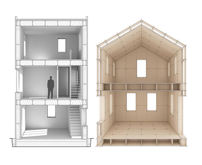Innenansicht von Gebäuden, die mit SimpliciDIY designt wurden. Bis zu drei Stockwerke sind möglich. (Bild: Atelier SLOW)