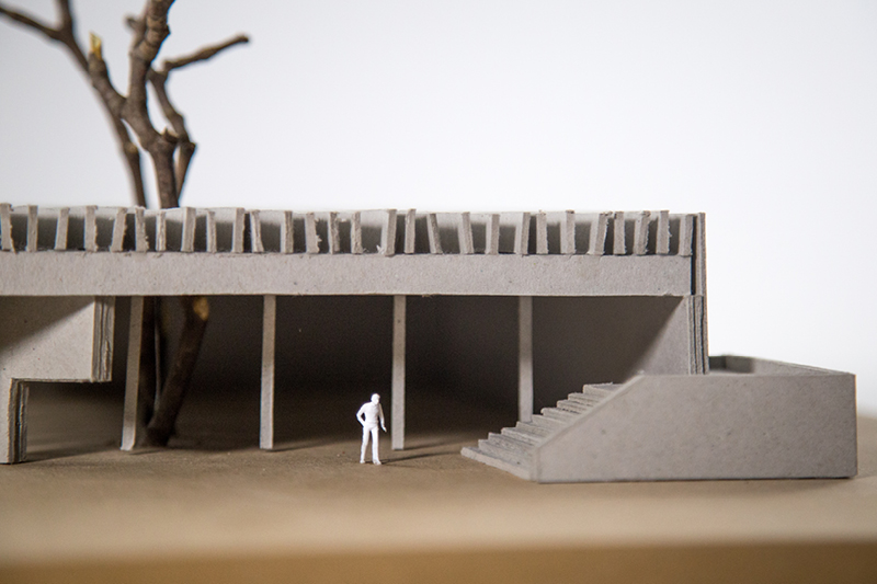 Nordischer Pavillon, Venedig // Modell aus Graupappe // Nahaufnahme
