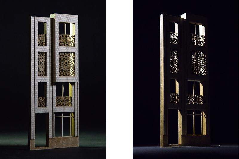 Fassadenmodell aus Finnpappe // Untersuchung der Fassadenwirkung mit unterschiedlichen Belichtungen